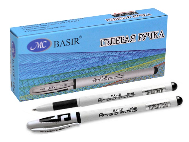 Ручка гелевая, черная, 0.5мм., Basir