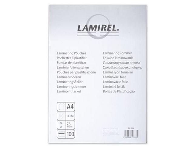 Пленка для ламинирования А4, 75 мкм, 210*300 мм, 100 шт., Lamirel