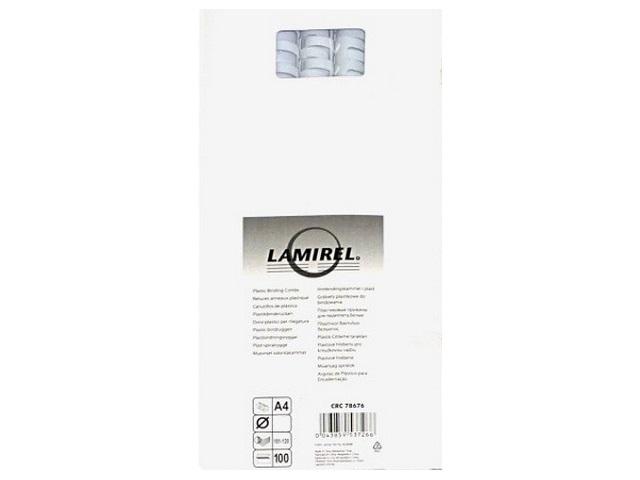 Пружины д/брошюровки  6мм пласт бел кругл Lamirel 100шт LA-78666/1