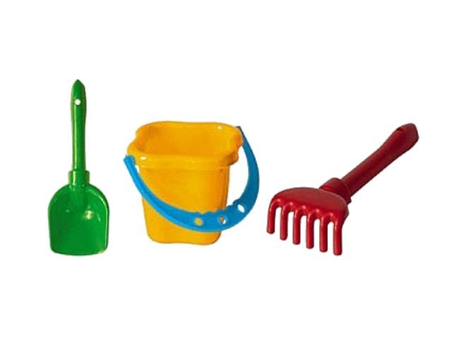 Песочный набор, 3 предмета, № 4 (ведро 0.8 л + лопатка 22 см + грабли 21 см), Рыжий кот
