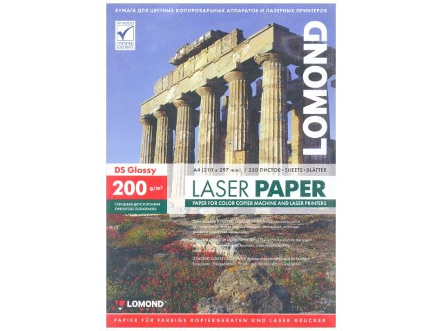Фотобумага, А4, глянцевая, 200г/м2, 250л., для лазерной печати, Lomond
