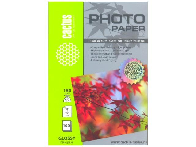 Фотобумага, А6, глянцевая, 180г/м2, 100л., для струйной печати, Cactus