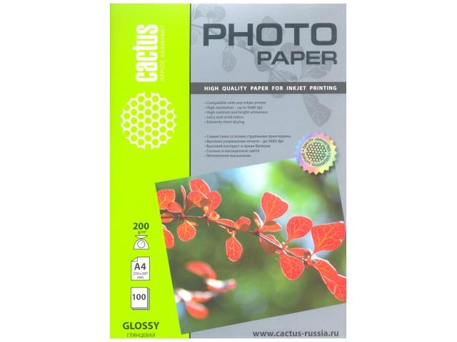 Фотобумага, А4, глянцевая, 200г/м2, 100л., для струйной печати, Cactus