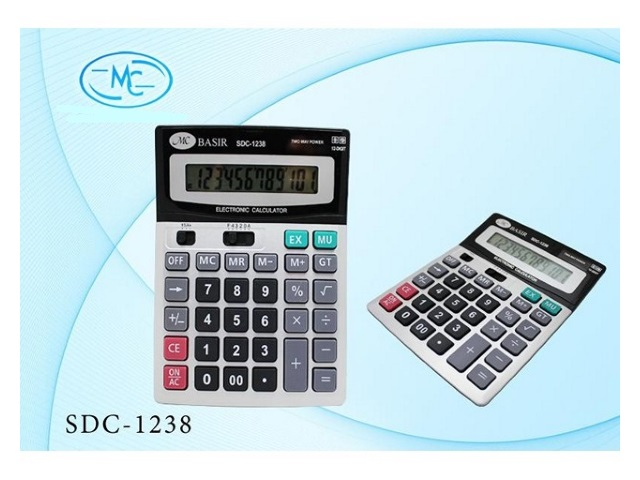 Калькулятор, 12-разрядный, серый, 19*14см., Basir