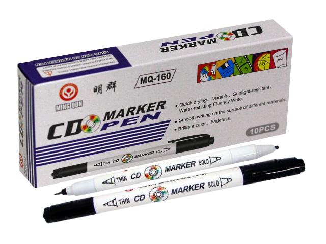 Маркер для дисков черный круглый двухсторонний 0.7 мм/2 мм, Ming Qun