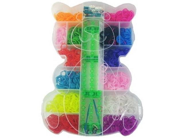 Набор резиночек для плетения со станком Мишка, 1600 шт., в пластиковой коробке, S-22