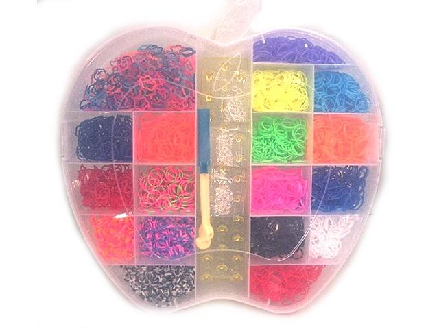 Набор для творчества, Резиночки для плетения, 2600шт., 1 станок, Яблоко, в пластиковой коробке
