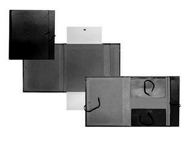Папка бокс, бумвинил, на завязках, А4, 5 см, черная, Имидж