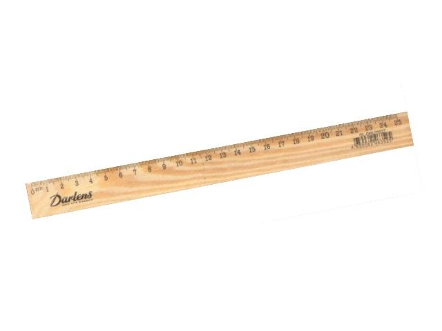Линейка 25см., деревянная, Darlens
