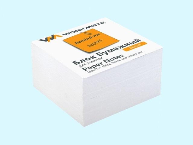 Бумага для заметок, белая, не склеенная, 90*90 мм, 500 листов, Workmate