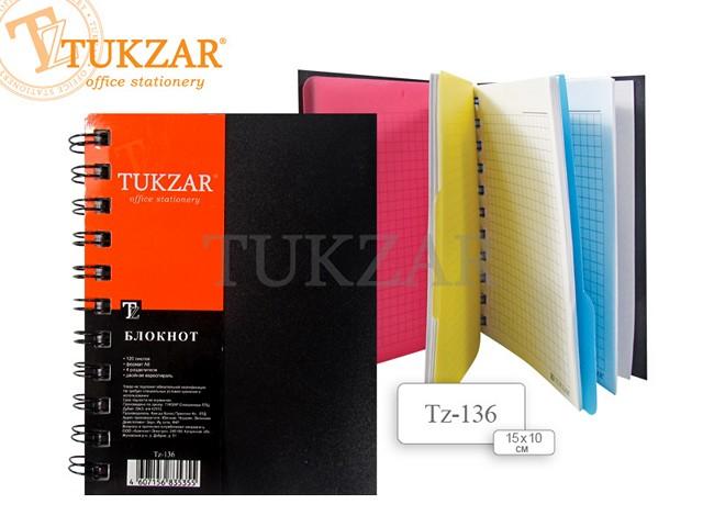 Блокнот А6, спираль сбоку, пластиковая обложка, 120 листов, клетка, 3 разделителя, Tukzar