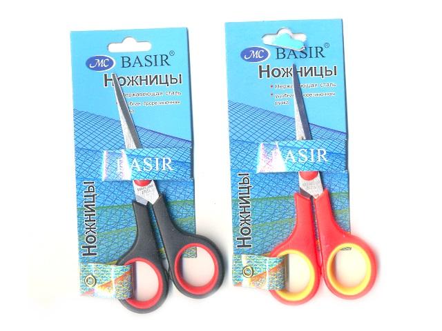 Ножницы 14 см с прорезиненными ручками, блистер, Basir МС-504