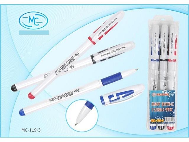 Ручка гелевая, в наборе 3 цвета, 0.5мм., Miraculous