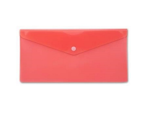 Папка конверт на кнопке, DL, прозрачная, красная, Бюрократ