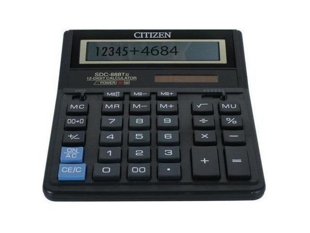 Калькулятор, 12-разрядный, черный, 20*15.5см., СITIZEN