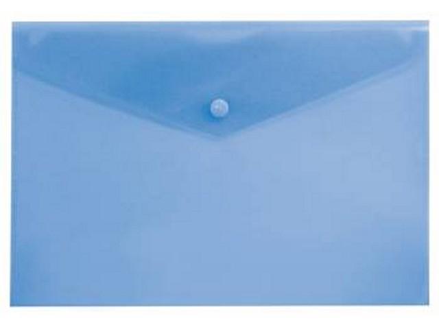 Папка конверт на кнопке, А4, прозрачная, синяя, Бюрократ
