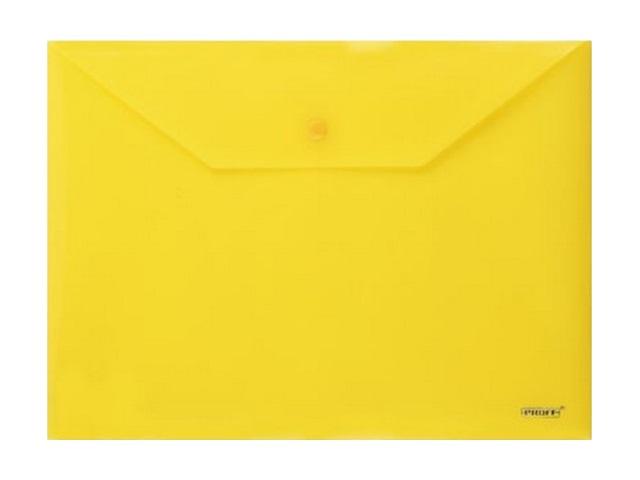 Папка конверт на кнопке, А4, желтая, Proff Standard
