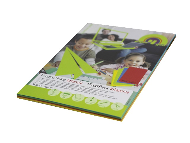 Бумага А4, 80 г/м, 5 цветов по 20 листов, интенсивная, Paper4you