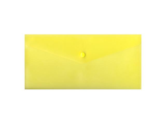 Папка конверт на кнопке, DL, прозрачная, желтая, Бюрократ