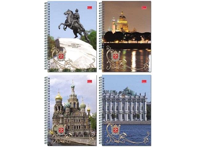 Блокнот А6, спираль сбоку, мягкая обложка, 60 листов, клетка, Санкт-Петербург, Полином