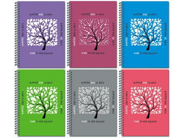 Блокнот на спирали сбоку А6 Дерево в квадрате, мягкая обложка 60 листов в клетку, Полином 21с15