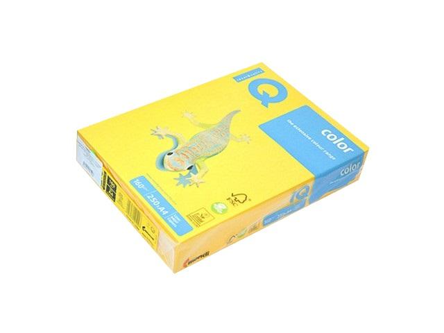 Бумага А4, 160 г/м., 250л., конареечно-желтая, IQ