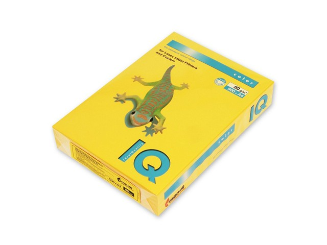 Бумага А4, 80 г/м, 500 листов, солнечно-желтая, IQ