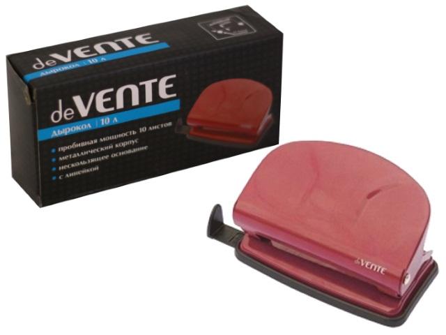 Дырокол на 10 листов металлический бордовый с линейкой, DeVente 4020318