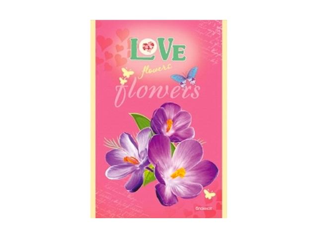 Блокнот А6, скоба сверху, мягкая обложка, 32 листа, клетка, Цветы любви, Prof Press