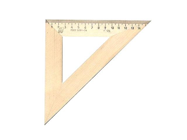 Треугольник 16см., деревянный, 45*45*90, Можга