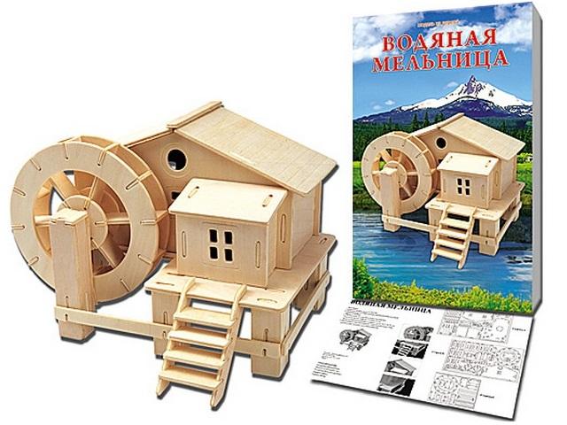 Деревянный конструктор (3D пазл), Водяная мельница, Рыжий кот