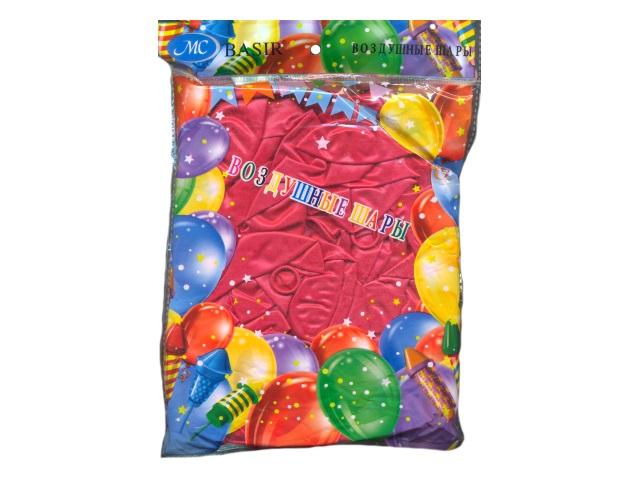 Шары, размер № 12, в упаковке 100 шт., красные, металлик, Basir