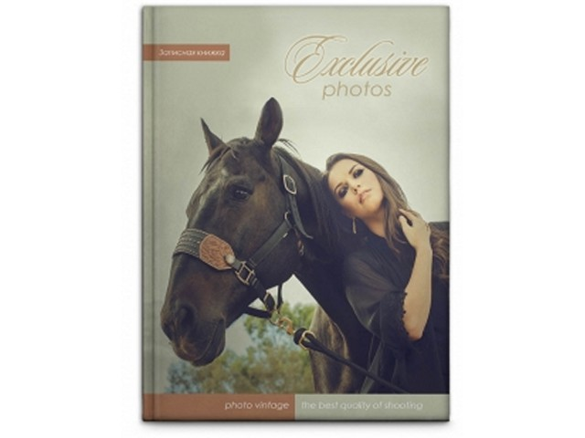 Блокнот А6, твердая обложка, 96 листов, клетка, Девушка и лошадь, Prof Press