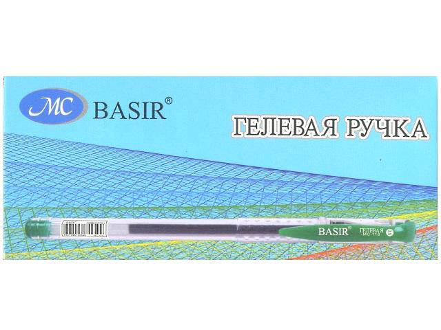 Ручка гелевая, зеленая, 0.5мм., Basir