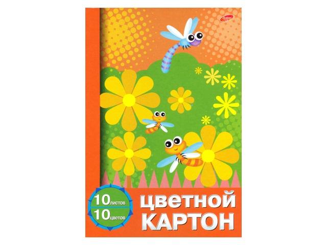 Картон цветной, А4, 10л., 10цв., односторонний, 8 основных цветов + золото и серебро, Академия Групп
