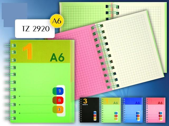 Блокнот А6, спираль сбоку, пластиковая обложка, 120 листов, клетка, 3 разделителя, цвета в ассортименте, Tukzar