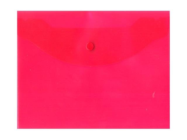 Папка конверт на кнопке, В5, прозрачная, красная, Kanzfile