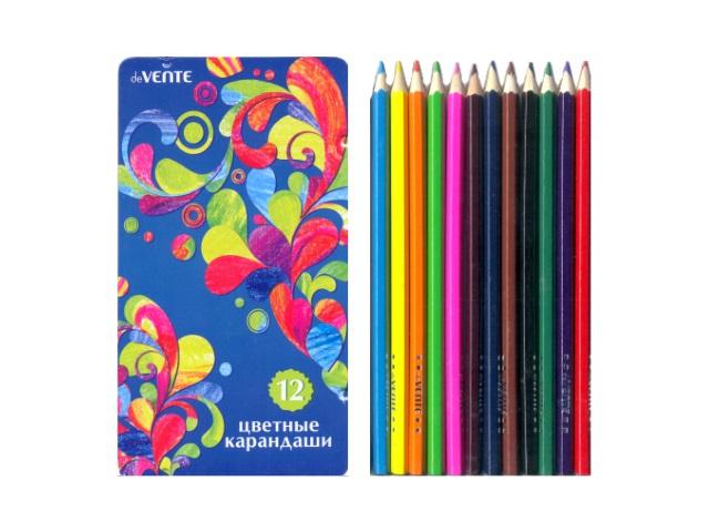 Карандаши цветные 12 цветов, шестигранные в металлическом футляре, DeVente 5022308