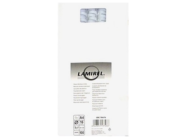 Пружины для брошюровки 16 мм белые, пластиковые, круглые, 100 шт., Lamirel, LA-78676