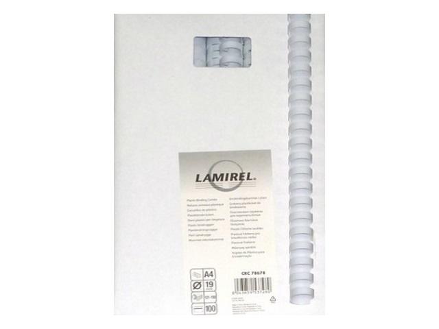 Пружины для брошюровки 19 мм белые, пластиковые, круглые, 100 шт., Lamirel, LA-78678