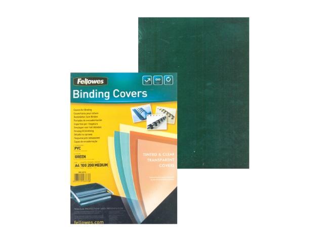 Обложки для брошюровки пластиковые, прозрачные, А4, 200 мкм, зеленые, 100 шт., Transparent, Fellowes
