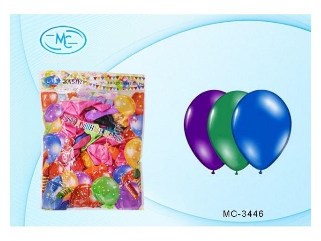 Шары, размер № 10, в упаковке 100 шт., цветные, металлик, Basir