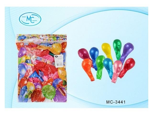 Шары, размер № 12, в упаковке 100 шт., цветные, металлик, Basir