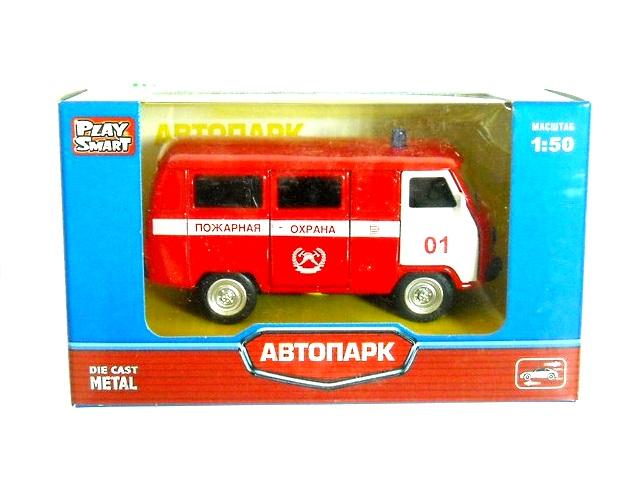 Машина инерционная, металлическая, Пожарная охрана, Автопарк, в коробке, Play Smart