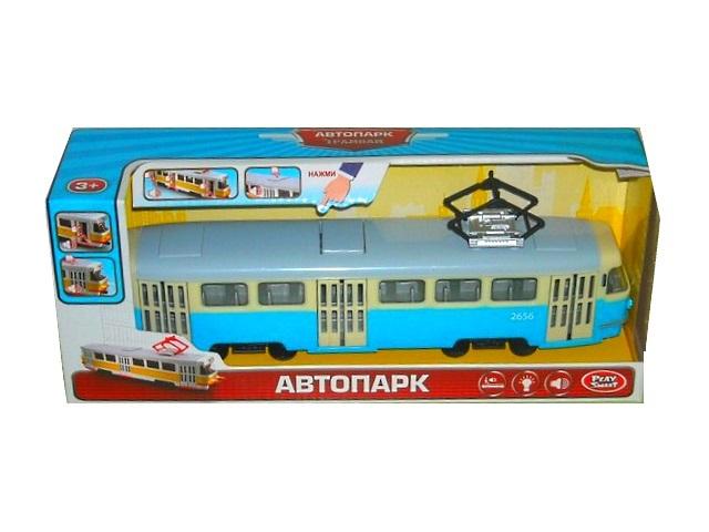 Трамвай на батарейках, инерционный, пластиковый, со звуком и светом, бело-синий, Автопарк, в коробке, Play Smart