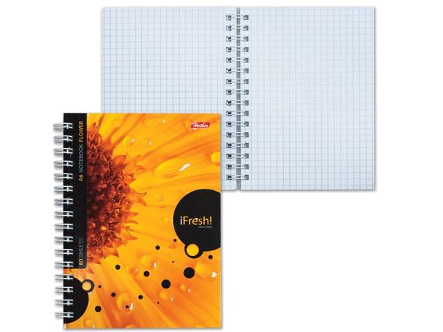 Блокнот А6, спираль сбоку, мягкая обложка, 80 листов, клетка, Цветок, iFresh, Hatber