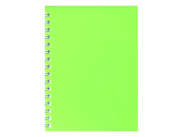 Блокнот А6, спираль сбоку, пластиковая обложка, 80 листов, клетка, Diamond neon, зеленый, Hatber