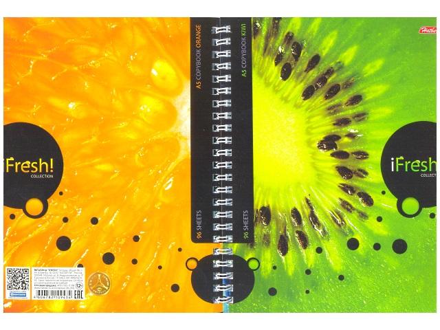 Блокнот 2 в 1 на спирали А5 мягкая обложка iFresh, 96 листов в клетку, Hatber 96Тд5B1гр_10623