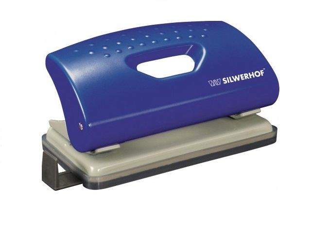 Дырокол на 10л., пластиковый, с линейкой, синий, Primer, Silwerhof