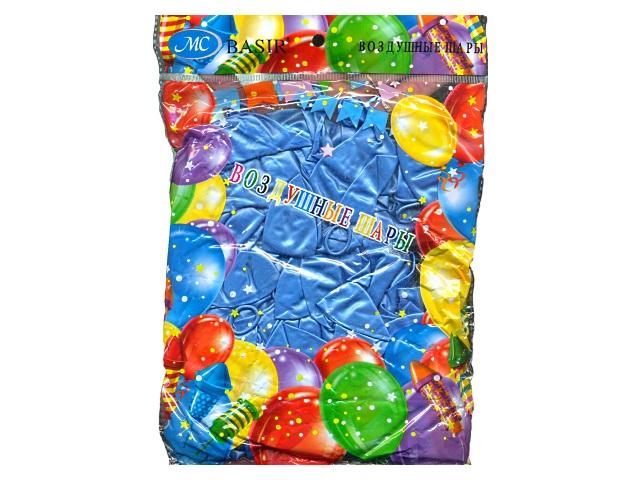 Шары, размер № 12, в упаковке 100 шт., синие, металлик, Basir